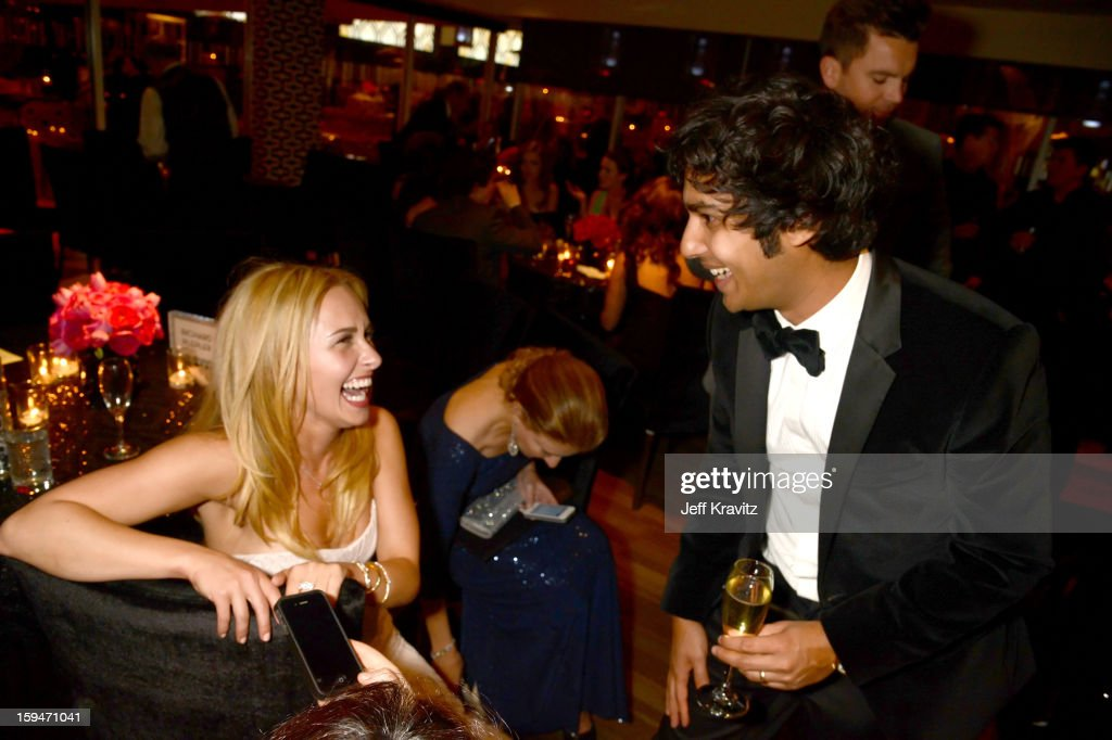 Actors Hayden Panettiere and Kunal Nayyar attend HBO's Official Golden Globe Awards After Party held at Circa 55 Restaurant at The Beverly Hilton Hotel on January 13, 2013 in Beverly Hills, California.