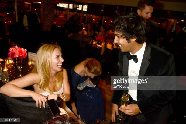 Actors Hayden Panettiere and Kunal Nayyar attend HBO's Official Golden Globe Awards After Party held at Circa 55 Restaurant at The Beverly Hilton...