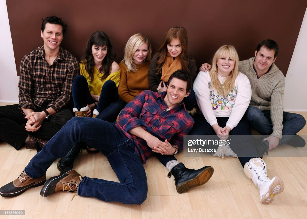 Actors Hayes MacArthur Lizzy Caplan Kirsten Dunst Isla Fisher Rebel Wilson Kyle Bornheimer and James Marsden pose for a portrait during the 2012...