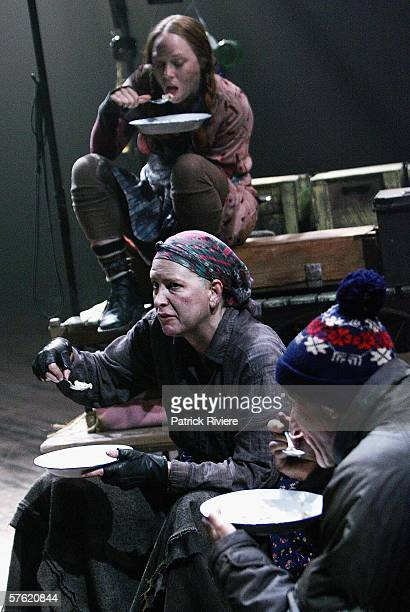 Actors Hayley McElhinney Pamela Rabe and John Gaden perform during a media call for 'Mother Courage And Her Children' at the Sydney Theatre Company...