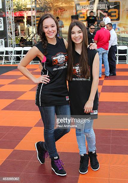 Actors Hayley Orrantia and Landry Bender attend 3rd Annual Josh Hutcherson Celebrity Basketball Game at Nokia Plaza LA LIVE on August 8 2014 in Los...