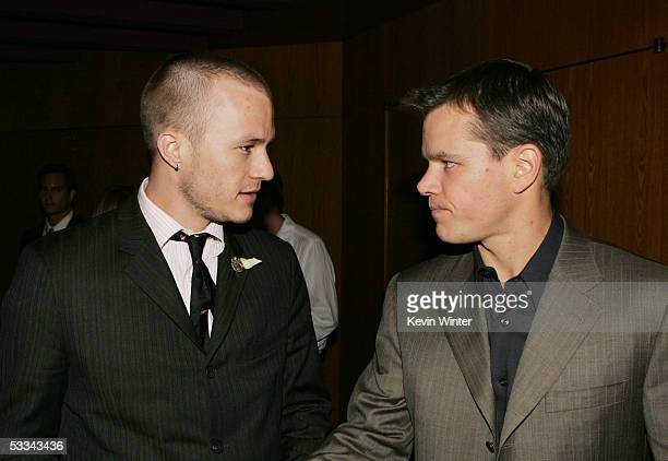 Actors Heath Ledger and Matt Damon talk at the premiere of Dimension Film's 'The Brothers Grimm' at the Directors Guild Theater on August 8 2005 in...