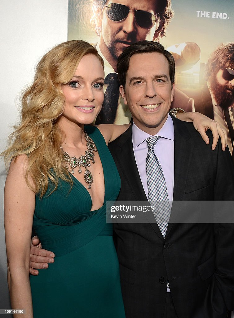 Actors <a gi-track='captionPersonalityLinkClicked' href=/galleries/search?phrase=Heather+Graham+-+Actress&family=editorial&specificpeople=204520 ng-click='$event.stopPropagation()'>Heather Graham</a> (L) and <a gi-track='captionPersonalityLinkClicked' href=/galleries/search?phrase=Ed+Helms&family=editorial&specificpeople=662337 ng-click='$event.stopPropagation()'>Ed Helms</a> arrives at the premiere of Warner Bros. Pictures' 'Hangover Part 3' on May 20, 2013 in Westwood, California.
