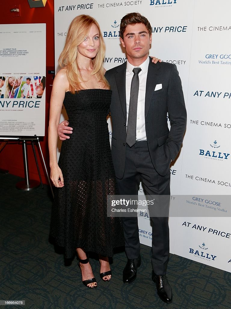 Actors <a gi-track='captionPersonalityLinkClicked' href=/galleries/search?phrase=Heather+Graham+-+Actress&family=editorial&specificpeople=204520 ng-click='$event.stopPropagation()'>Heather Graham</a> and <a gi-track='captionPersonalityLinkClicked' href=/galleries/search?phrase=Zac+Efron&family=editorial&specificpeople=533070 ng-click='$event.stopPropagation()'>Zac Efron</a> attend The Cinema Society & Bally screening of Sony Pictures Classics' 'At Any Price' at Landmark Sunshine Cinema on April 18, 2013 in New York City.