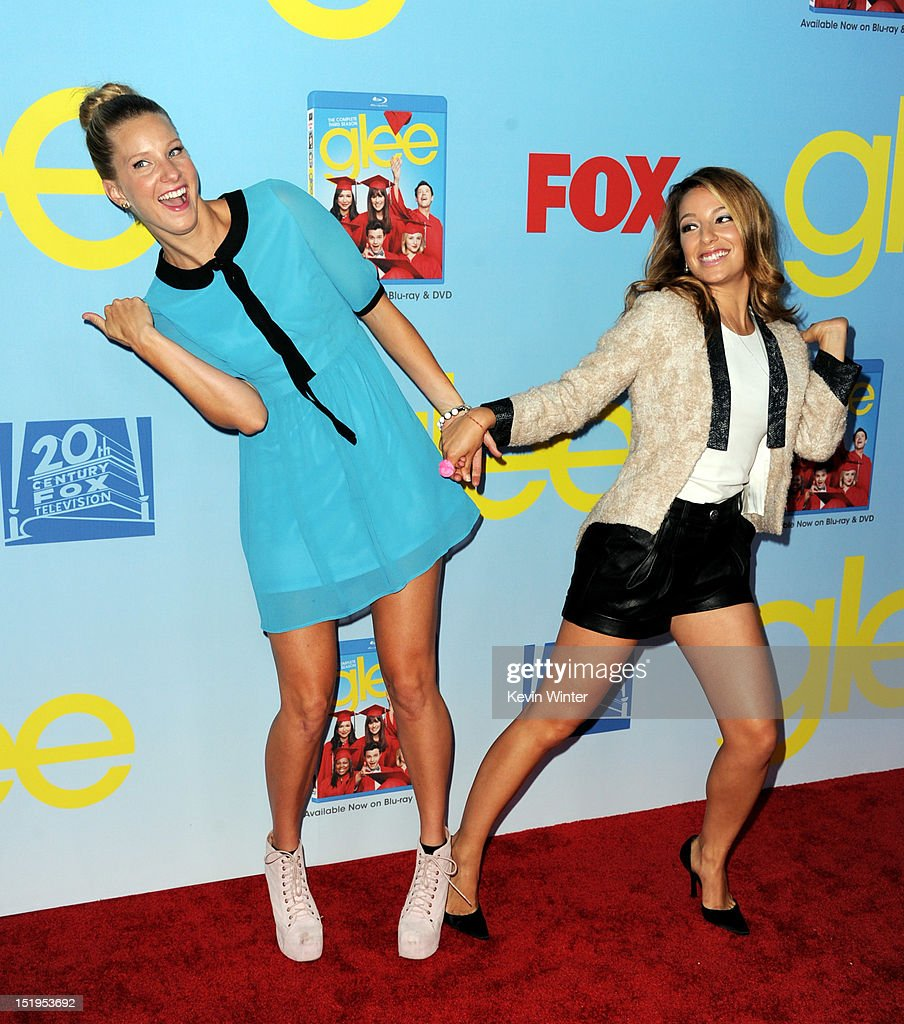 Actors Heather Morris (L) and Vanessa Lengies arrive at the premiere of Fox Television's 'Glee' at Paramount Studios on September 12, 2012 in Los Angeles, California.