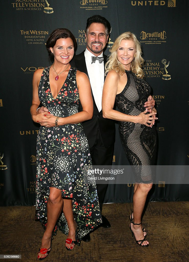 Actors Heather Tom Don Diamont and Katherine Kelly Lang pose in the press room at the 43rd Annual Daytime Creative Arts Emmy Awards at Westin...