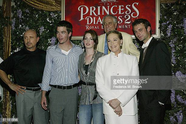 Actors Hector Elizondo Chris Pine Anne Hathaway director Garry Marshall actors Julie Andrews and Callum Blue attend the film premiere of 'The...