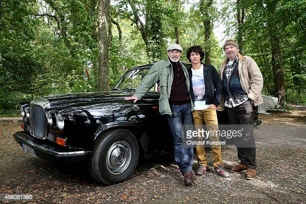 Actors Heiner Lauterbach Emilio Sakraya Moutaoukkil and Friedrich von Thun pose during a photocall on set for the film 'Forever Sauerland' on...