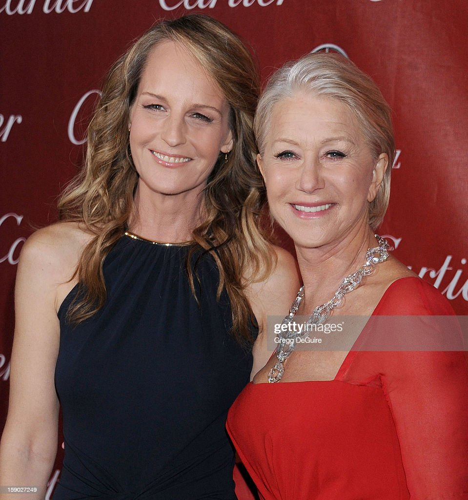 Actors Helen Hunt and Dame Helen Mirren arrive at the 24th Annual Palm Springs International Film Festival Awards Gala at Palm Springs Convention Center on January 5, 2013 in Palm Springs, California.