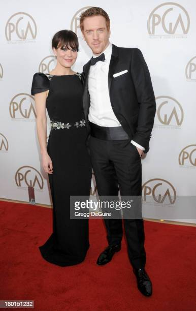 Actors Helen McCrory and Damian Lewis arrive at the 24th Annual Producers Guild Awards at The Beverly Hilton Hotel on January 26 2013 in Beverly...