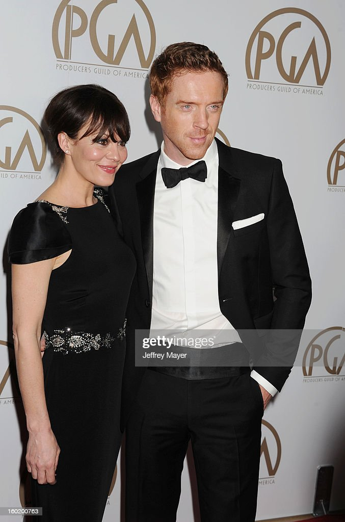 Actors Helen McCrory and Damian Lewis arrive at the 24th Annual Producers Guild Awards at The Beverly Hilton Hotel on January 26, 2013 in Beverly Hills, California.