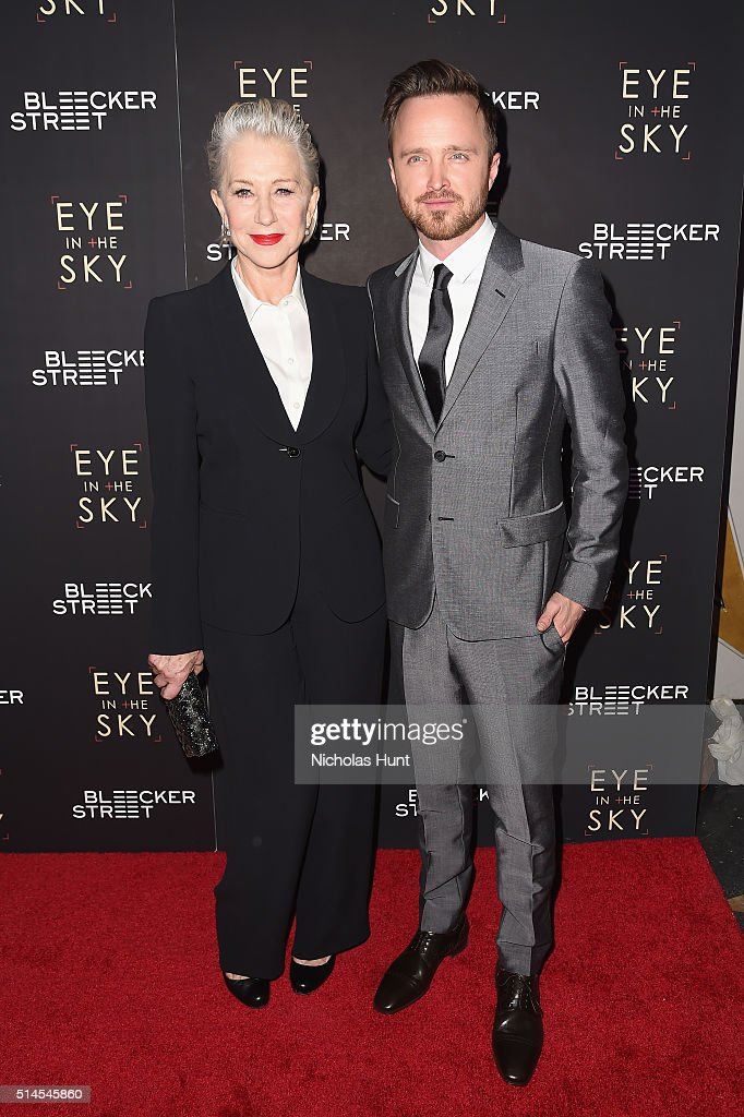 Actors Helen Mirren and Aaron Paul attend the 'Eye In The Sky' New York Premiere at AMC Loews Lincoln Square 13 theater on March 9, 2016 in New York City.