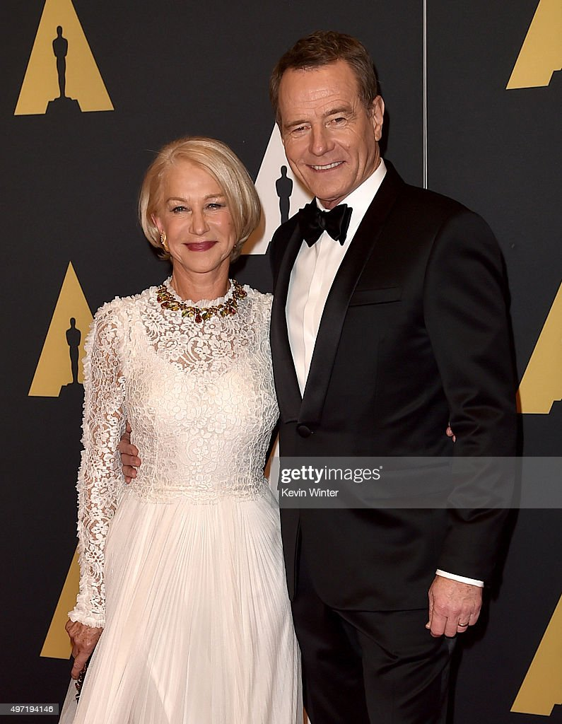 Actors Helen Mirren (L) and Bryan Cranston attend the Academy of Motion Picture Arts and Sciences' 7th annual Governors Awards at The Ray Dolby Ballroom at Hollywood & Highland Center on November 14, 2015 in Hollywood, California.