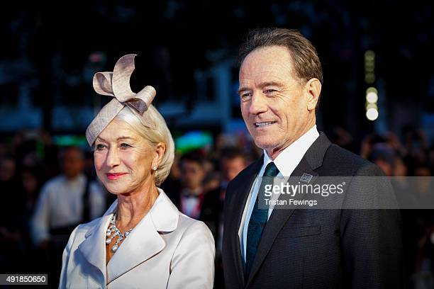 Actors Helen Mirren and Bryan Cranston attend the 'Trumbo' premiere during the BFI London Film Festival at the Odeon Leicester Square on October 8...