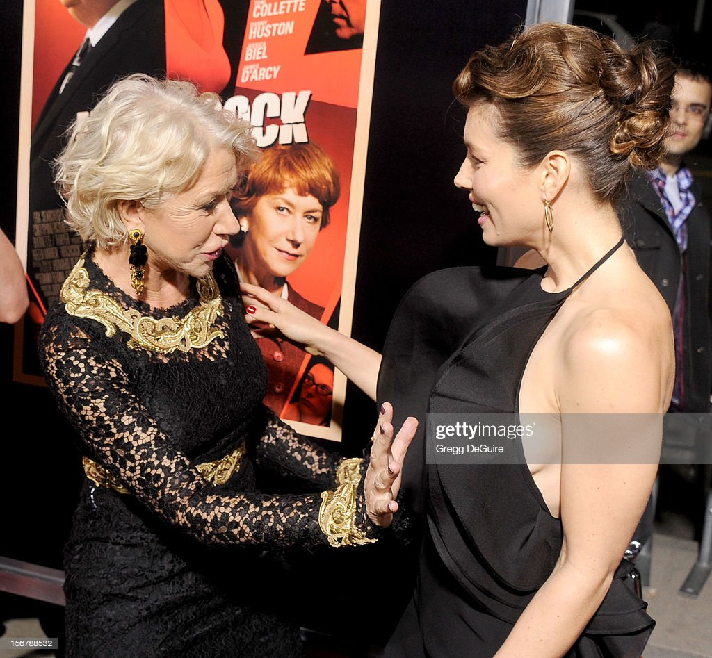 Actors Helen Mirren and Jessica Biel arrive at the Los Angeles premiere of 'Hitchcock' at the Academy of Motion Picture Arts and Sciences on November 20, 2012 in Beverly Hills, California.