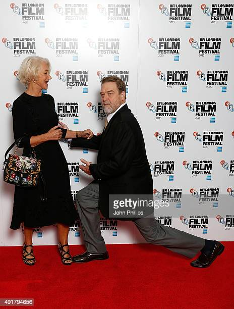 Actors Helen Mirren and John Goodman attend the 'Trumbo' photocall during the BFI London Film Festival at Corinthia Hotel London on October 8 2015 in...
