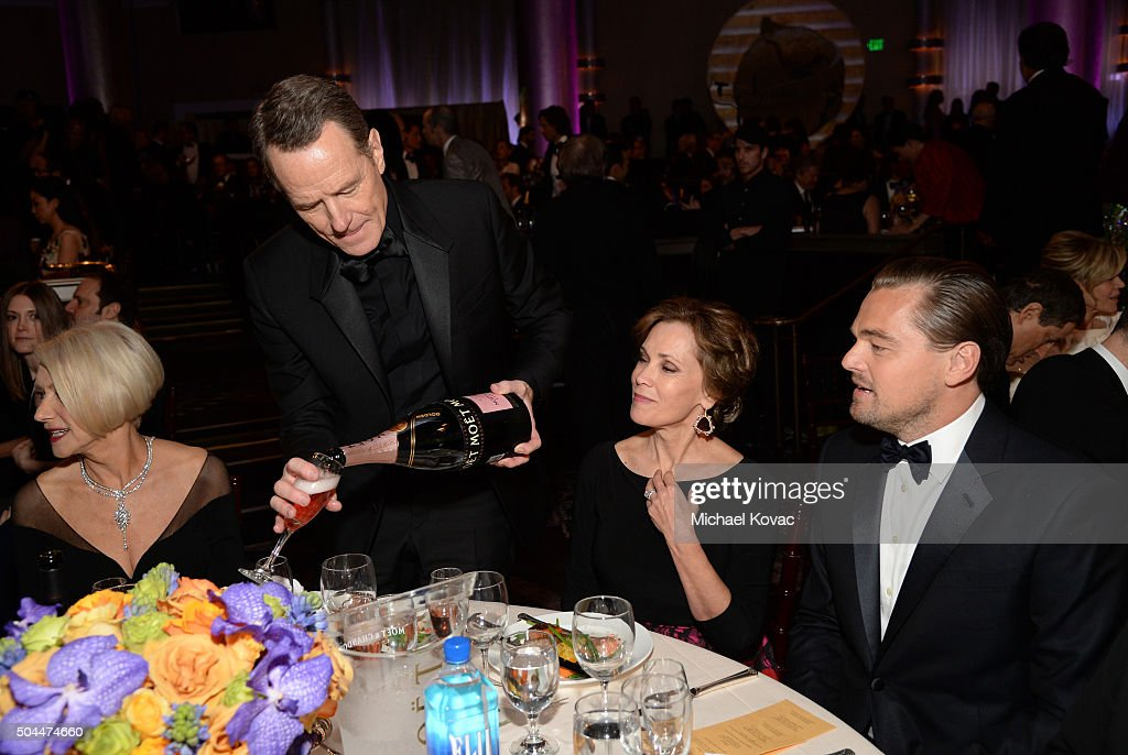 Actors Helen Mirren Bryan Cranston Robin Dearden and Leonardo DiCaprio attends the 73rd Annual Golden Globe Awards held at the Beverly Hilton Hotel...