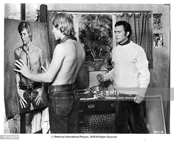 Actors Helmut Berger and Richard Todd on set of the movie 'Dorian Gray' in 1970