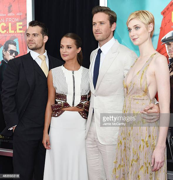 Actors Henry Cavill Alicia Vikander Armie Hammer and Elizabeth Debicki attend the New York Premiere of 'The Man From UNCLE' at Ziegfeld Theater on...