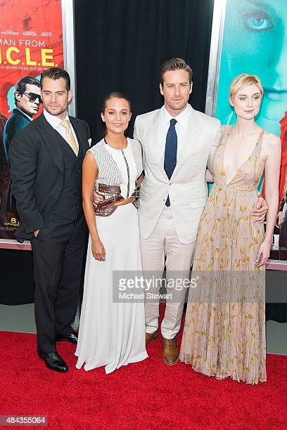 Actors Henry Cavill Alicia Vikander Armie Hammer and Elizabeth Debicki attend 'The Man From UNCLE' New York premiere at Ziegfeld Theater on August 10...