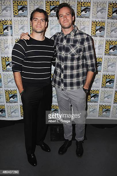 Actors Henry Cavill and Armie Hammer attend the Warner Bros 'The Man from UNCLE' presentation during ComicCon International 2015 at the San Diego...