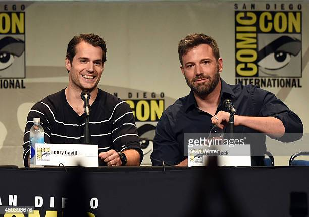 Actors Henry Cavill and Ben Affleck attend the Warner Bros presentation during ComicCon International 2015 at the San Diego Convention Center on July...