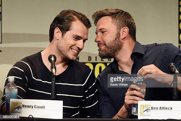 Actors Henry Cavill and Ben Affleck from 'Batman v Superman Dawn of Justice' attend the Warner Bros presentation during ComicCon International 2015...