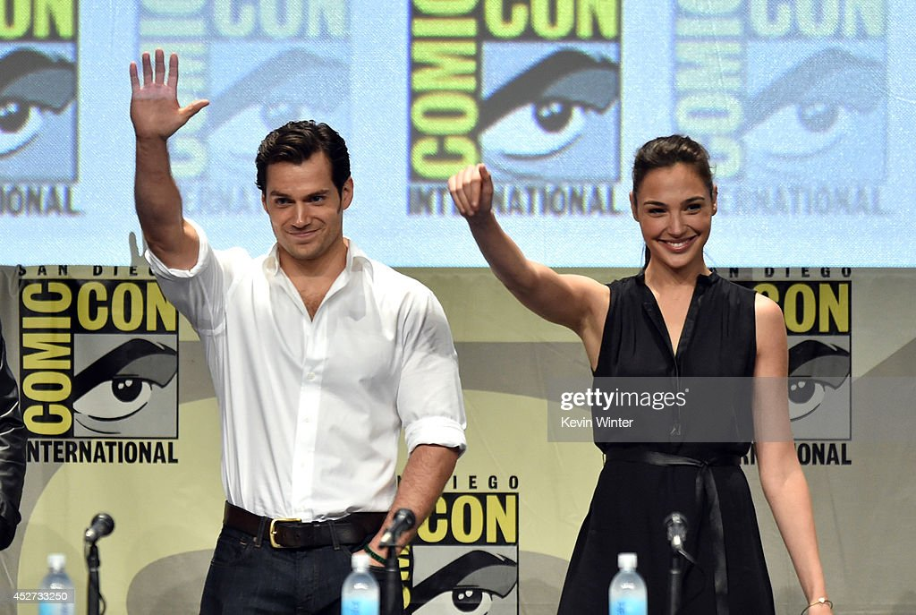 Actors <a gi-track='captionPersonalityLinkClicked' href=/galleries/search?phrase=Henry+Cavill&family=editorial&specificpeople=3767741 ng-click='$event.stopPropagation()'>Henry Cavill</a> (L) and <a gi-track='captionPersonalityLinkClicked' href=/galleries/search?phrase=Gal+Gadot&family=editorial&specificpeople=4350069 ng-click='$event.stopPropagation()'>Gal Gadot</a> attend the Warner Bros. Pictures panel and presentation during Comic-Con International 2014 at San Diego Convention Center on July 26, 2014 in San Diego, California.