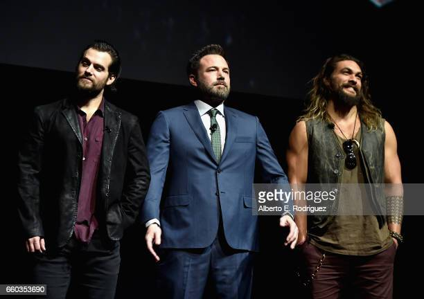 "Actors Henry Cavill Ben Affleck and Jason Momoa speak onstage at CinemaCon 2017 Warner Bros Pictures Invites You to ""The Big Picture"" an Exclusive..."