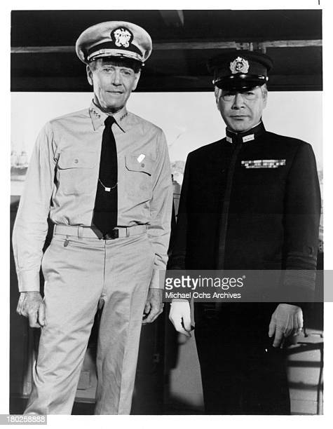 Actors Henry Fonda and Toshiro Mifune on the set of Universal Studios movie ' Midway' in 1976