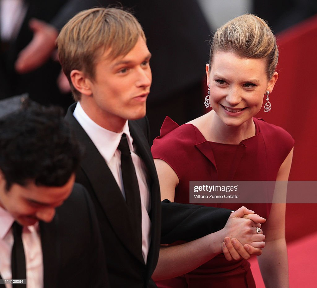 Actors Henry Hopper (L) and <a gi-track='captionPersonalityLinkClicked' href=/galleries/search?phrase=Mia+Wasikowska&family=editorial&specificpeople=3965263 ng-click='$event.stopPropagation()'>Mia Wasikowska</a> arrive at the 'Restless' premiere during the 64th Annual Cannes Film Festival at the Palais des Festivals on May 12, 2011 in Cannes, France.