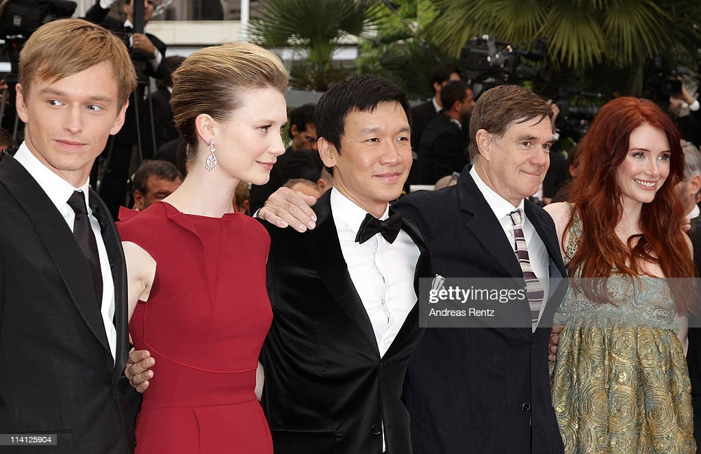 Actors Henry Hopper, <a gi-track='captionPersonalityLinkClicked' href=/galleries/search?phrase=Mia+Wasikowska&family=editorial&specificpeople=3965263 ng-click='$event.stopPropagation()'>Mia Wasikowska</a>, writer Jason Lew, director <a gi-track='captionPersonalityLinkClicked' href=/galleries/search?phrase=Gus+Van+Sant&family=editorial&specificpeople=626229 ng-click='$event.stopPropagation()'>Gus Van Sant</a>, and actress <a gi-track='captionPersonalityLinkClicked' href=/galleries/search?phrase=Bryce+Dallas+Howard&family=editorial&specificpeople=156411 ng-click='$event.stopPropagation()'>Bryce Dallas Howard</a> arrive at the 'Restless' premiere during the 64th Annual Cannes Film Festival at the Palais des Festivals on May 12, 2011 in Cannes, France.