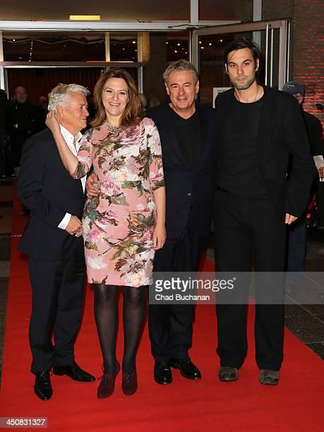 Actors Henry Hubchen Martina Gedeck director Markus Imboden and actor Maximilian Simonischek attend the 'Am Hang' German Premiere at Kino...