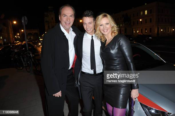 Actors Herbert Knaup Vladimir Burlakov and Veronica Ferres attend the premiere of the movie 'Marco W 247 Days In Turkish Prison' at the Filmcasino on...
