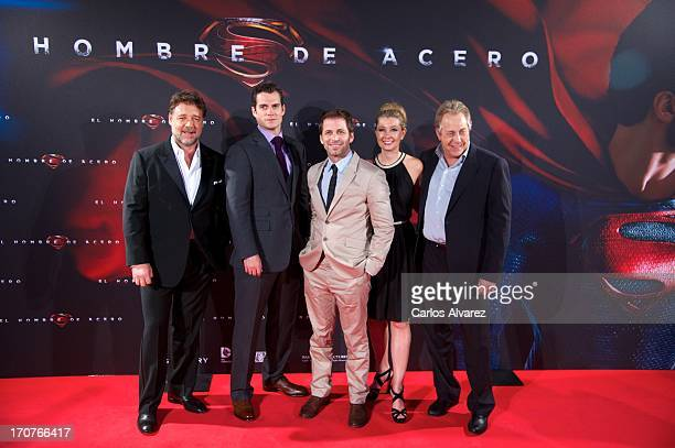 Actors Herny Cavill Rusell Crowe director Zack Snyder his wife producer Deborah Snyder and producer Charles Roven attend the 'Man of Steel' premiere...