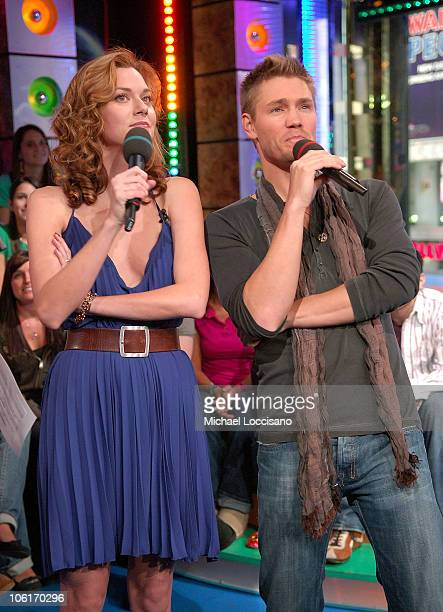 Actors Hilarie Burton and Chad Michael Murray appear on MTV's 'TRL' at MTV Studios in New York City's Times Square on January 8 2008