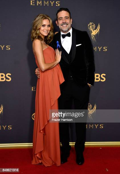 Actors Hilarie Burton and Jeffrey Dean Morgan attend the 69th Annual Primetime Emmy Awards at Microsoft Theater on September 17 2017 in Los Angeles...