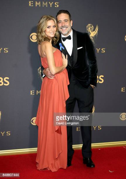 Actors Hilarie Burton and Jeffrey Dean Morgan attend the 69th Annual Primetime Emmy Awards Arrivals at Microsoft Theater on September 17 2017 in Los...