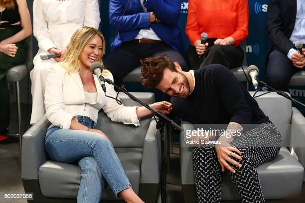 Actors Hilary Duff and Nico Tortorella from the cast of YOUNGER speak during SiriusXM's Town Hall on June 27 2017 in New York City
