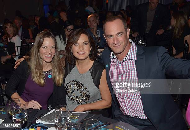 Actors Hilary Swank Mariska Hargitay and Christopher Meloni attend The Joyful Heart Foundation Presents JoyROCKS to celebrate the NO MORE PSA Launch...