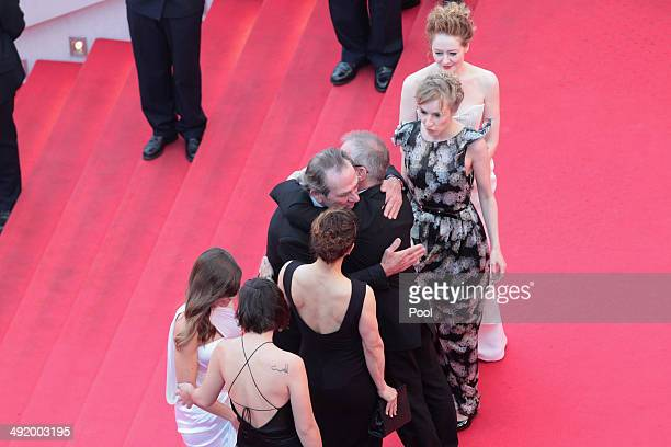 Actors Hilary Swank Miranda Otto Sonia Richter and directorTommy Lee Jones are greeted on the red carpet by Thierry Fremaux as they attend 'The...