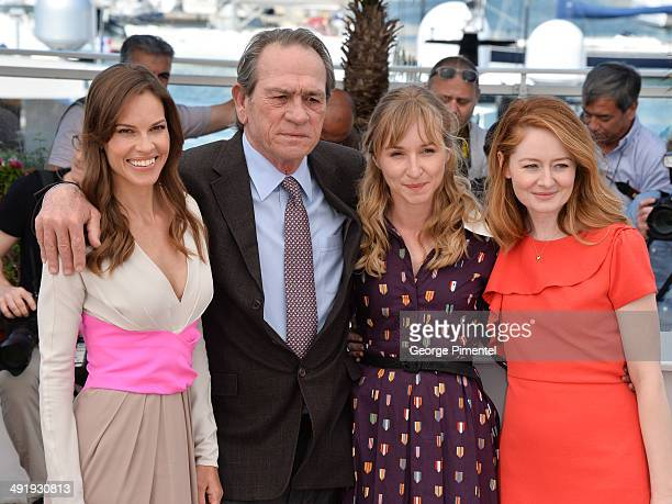 Actors Hilary Swank Tommy Lee Jones Sonja Richter and Miranda Otto attend 'The Homesman' photocall at the 67th Annual Cannes Film Festival on May 18...
