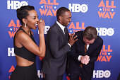 Actors Hilary Ward Anthony Mackie and Bryan Cranston attend the NYC special screening of HBO Films' 'All The Way' at Jazz at Lincoln Center on May 17...