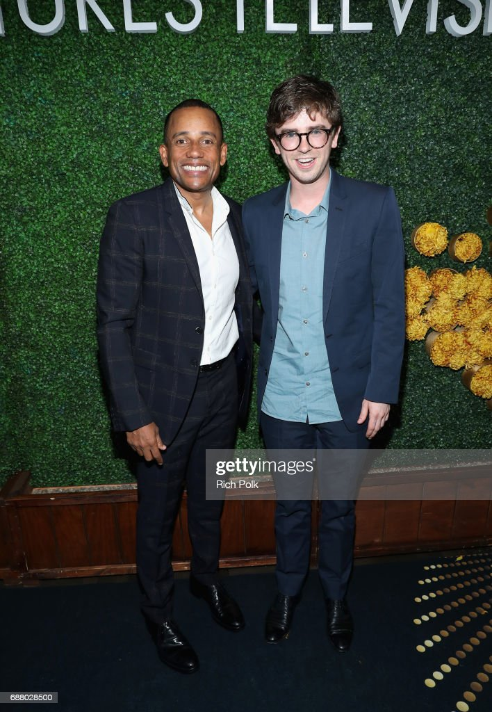 Actors Hill Harper (L) and Freddie Highmore attend the Sony Pictures Television LA Screenings Party at Catch LA on May 24, 2017 in Los Angeles, California.