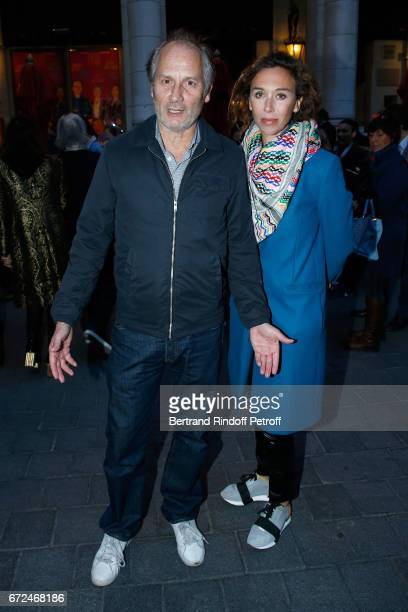 Actors Hippolyte Girardot and Charlotte des Georges attend 'La Recompense' Theater Play at Theatre Edouard VII on April 24 2017 in Paris France