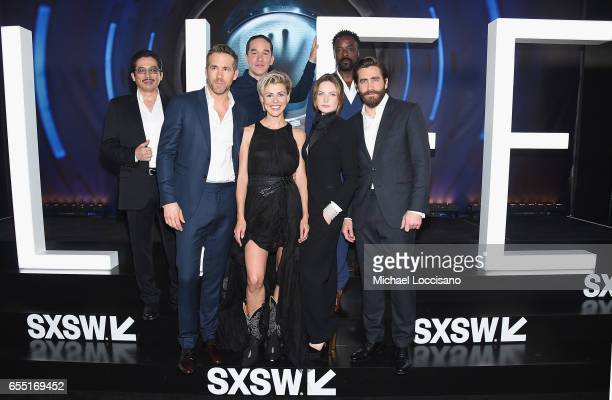 Actors Hiroyuki Sanada and Ryan Reynolds Director Daniel Espinosa and actors Olga Dihovichnaya Rebecca Ferguson Ariyon Bakare and Jake Gyllenhaal...