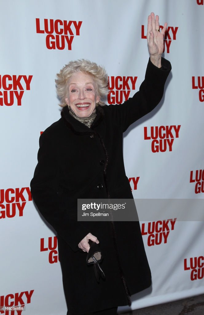 Actors <a gi-track='captionPersonalityLinkClicked' href=/galleries/search?phrase=Holland+Taylor&family=editorial&specificpeople=224773 ng-click='$event.stopPropagation()'>Holland Taylor</a> attends the 'Lucky Guy' Broadway Opening Night - Arrivals & Curtain Call at The Broadhurst Theatre on April 1, 2013 in New York City.
