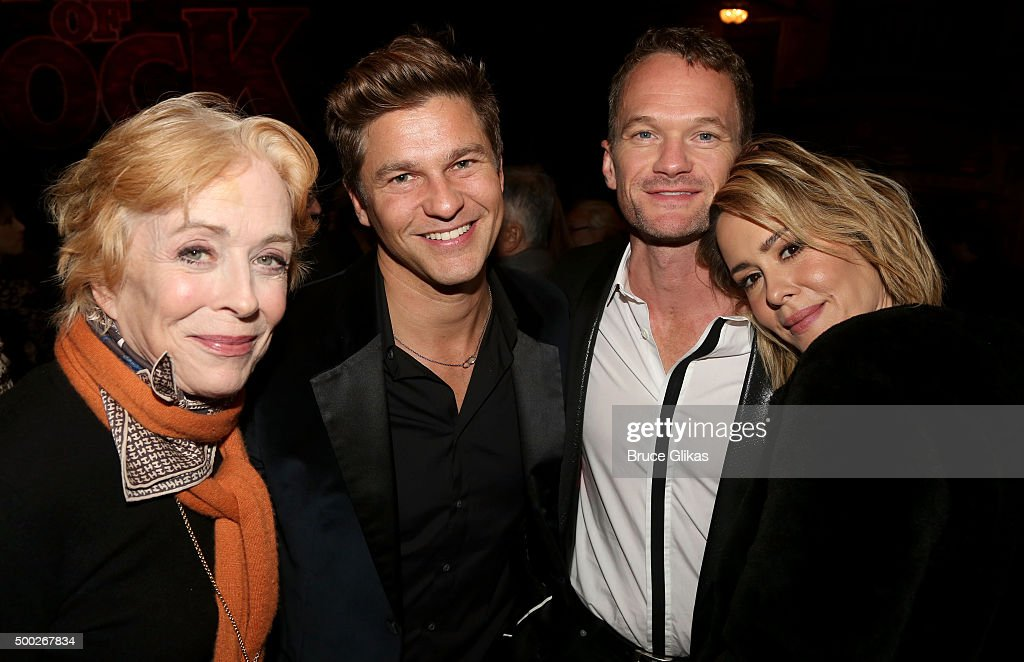 Actors Holland Taylor David Burtka Neil Patrick Harris and Sarah Paulson pose at the Opening Night of 'School of Rock' on Broadway at The Winter...