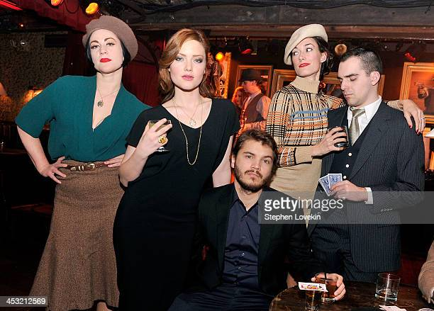 Actors Holliday Grainger and Emile Hirsch attend the AE Premiere Party for 'Bonnie Clyde' at Heath at the McKittrick Hotel on December 2 2013 in New...