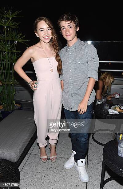 Actors Holly Taylor and Keidrich Sellati attend the 'SexDrugsRockRoll' 'Married' New York Series Premiere after party at Zerzura Rooftop Bar at The...